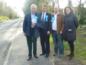 Showing Matt Hancock MP and Geoffrey Van Orden MEP the speed of traffic entering Lakenheath along Station Road