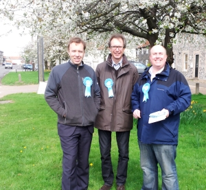 Out campaigning with Matthew Hancock MP & West Suffolk Association Chairman George Lambton