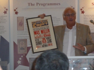 Roy Hudd showing us the billboard of his first ever show. Max Miller at the top, him at the bottom.