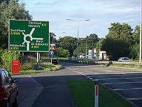 The approach to Fiveways Roundabout