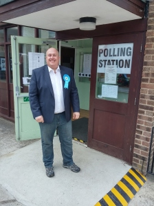 Outside the polling sation at Lakenheath Village Hall