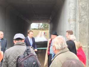 Matthew Hancock MP opening the new A11 Dual underpass and thanking Cllr. Guy McGregor for making that element happen