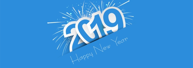 2019 Happy New Year colorful celebration banner